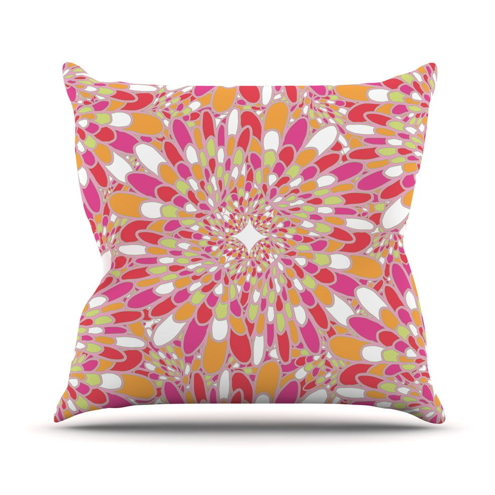 "Miranda Mol ""Flourishing Pink"" Pink Orange Throw Pillow - KESS InHouse  - 1"