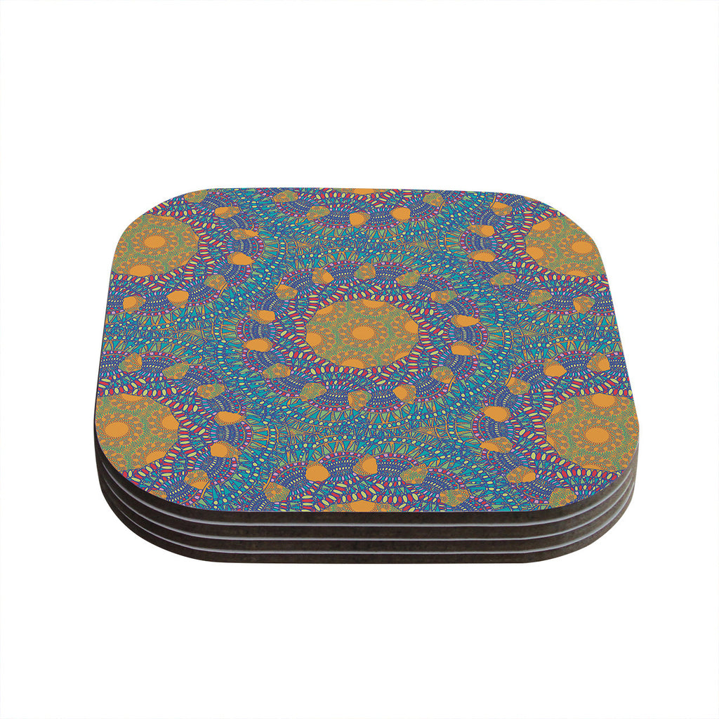 "Miranda Mol ""Prismatic Orange"" Orange Blue Abstract Coasters (Set of 4)"