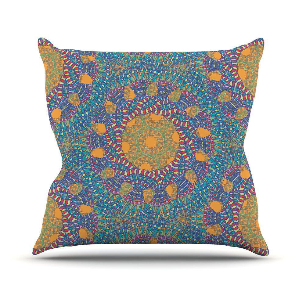 "Miranda Mol ""Prismatic Orange"" Orange Blue Abstract Throw Pillow - KESS InHouse  - 1"