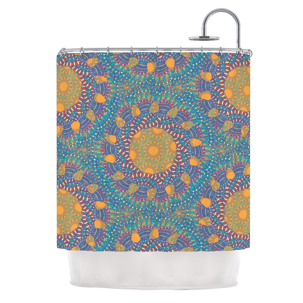 "Miranda Mol ""Prismatic Orange"" Orange Blue Abstract Shower Curtain - KESS InHouse"