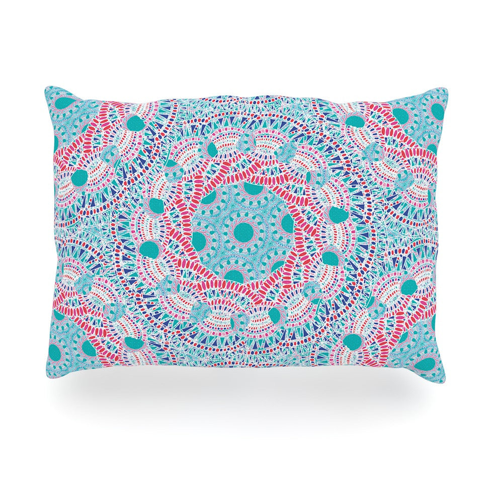 "Miranda Mol ""Prismatic White"" Blue Pink Abstract Oblong Pillow - KESS InHouse"