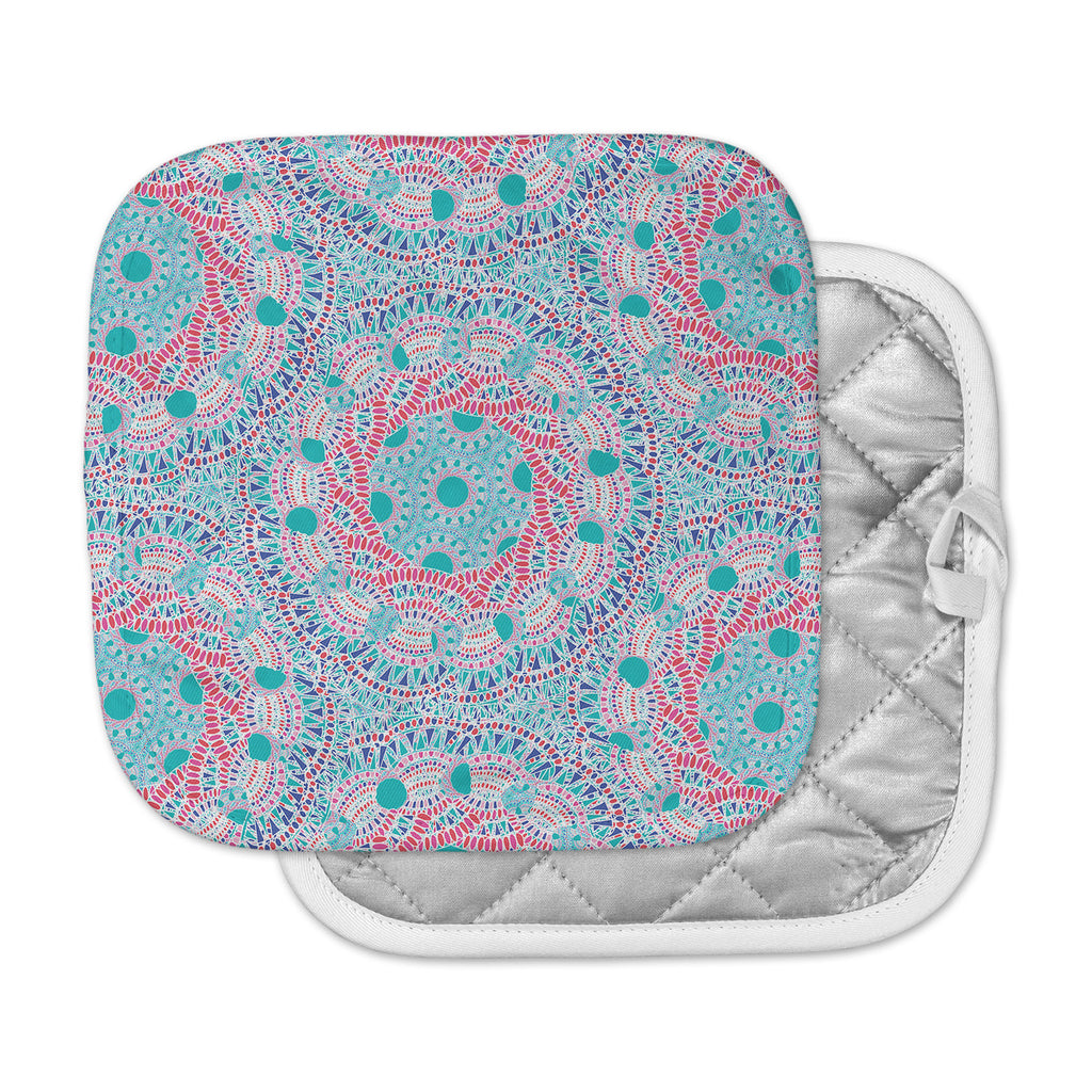 "Miranda Mol ""Prismatic White"" Blue Pink Abstract Pot Holder"