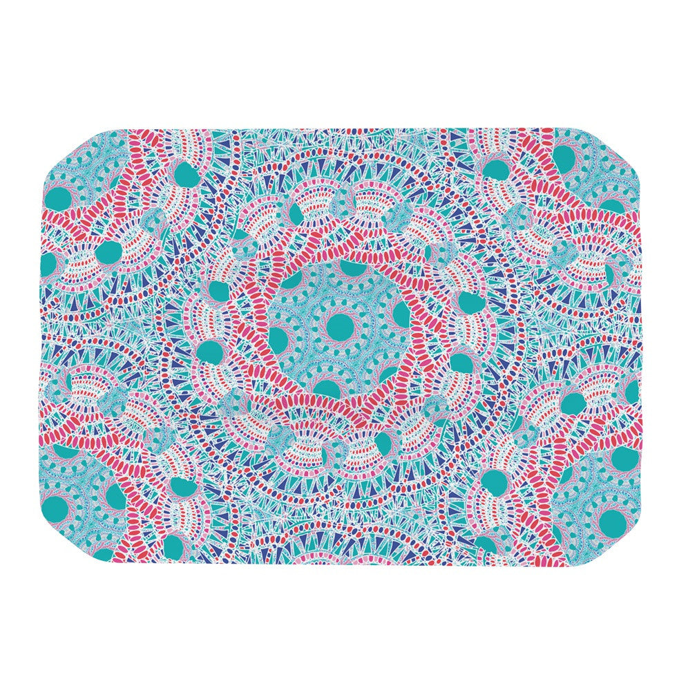 "Miranda Mol ""Prismatic White"" Blue Pink Abstract Place Mat - KESS InHouse"