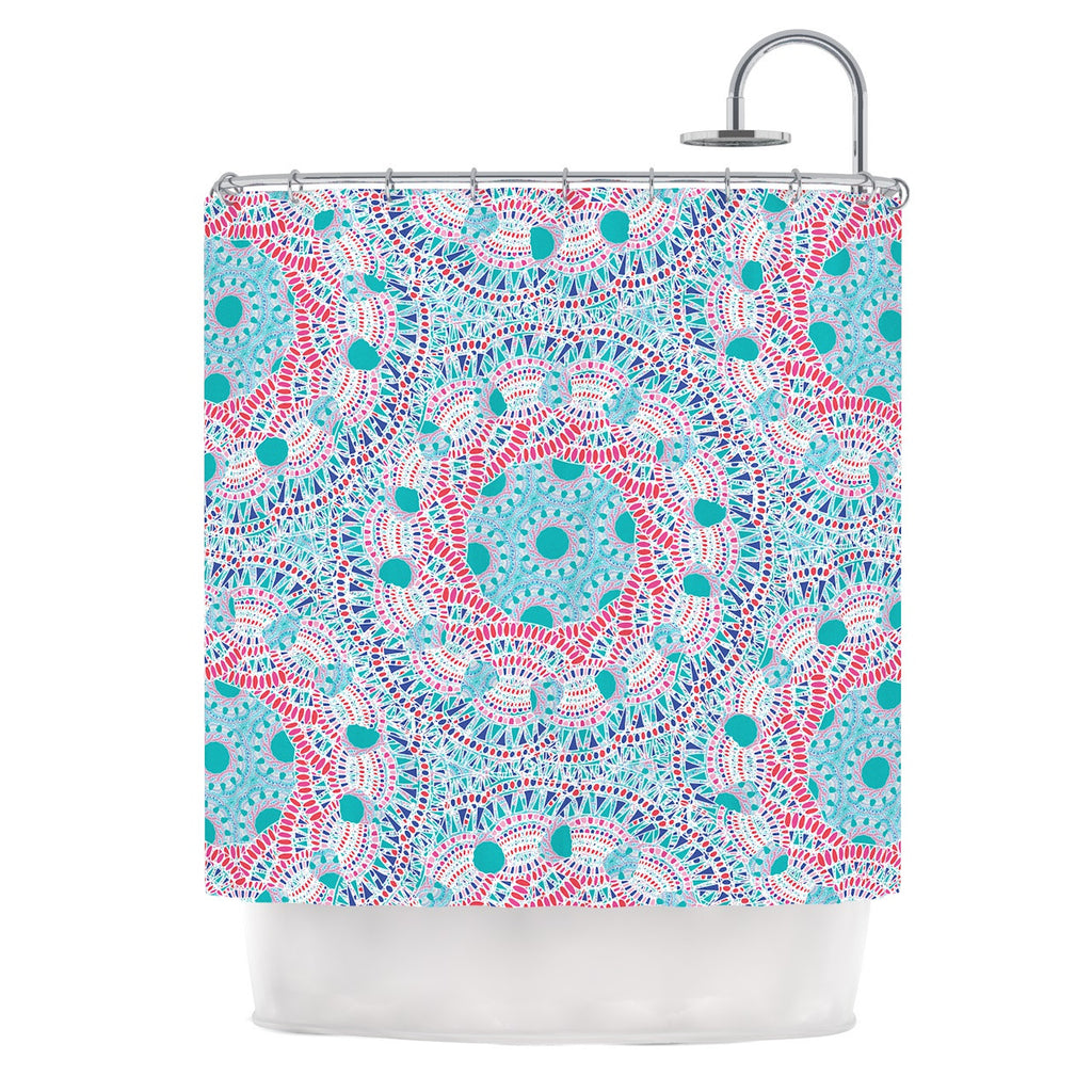 "Miranda Mol ""Prismatic White"" Blue Pink Abstract Shower Curtain - KESS InHouse"