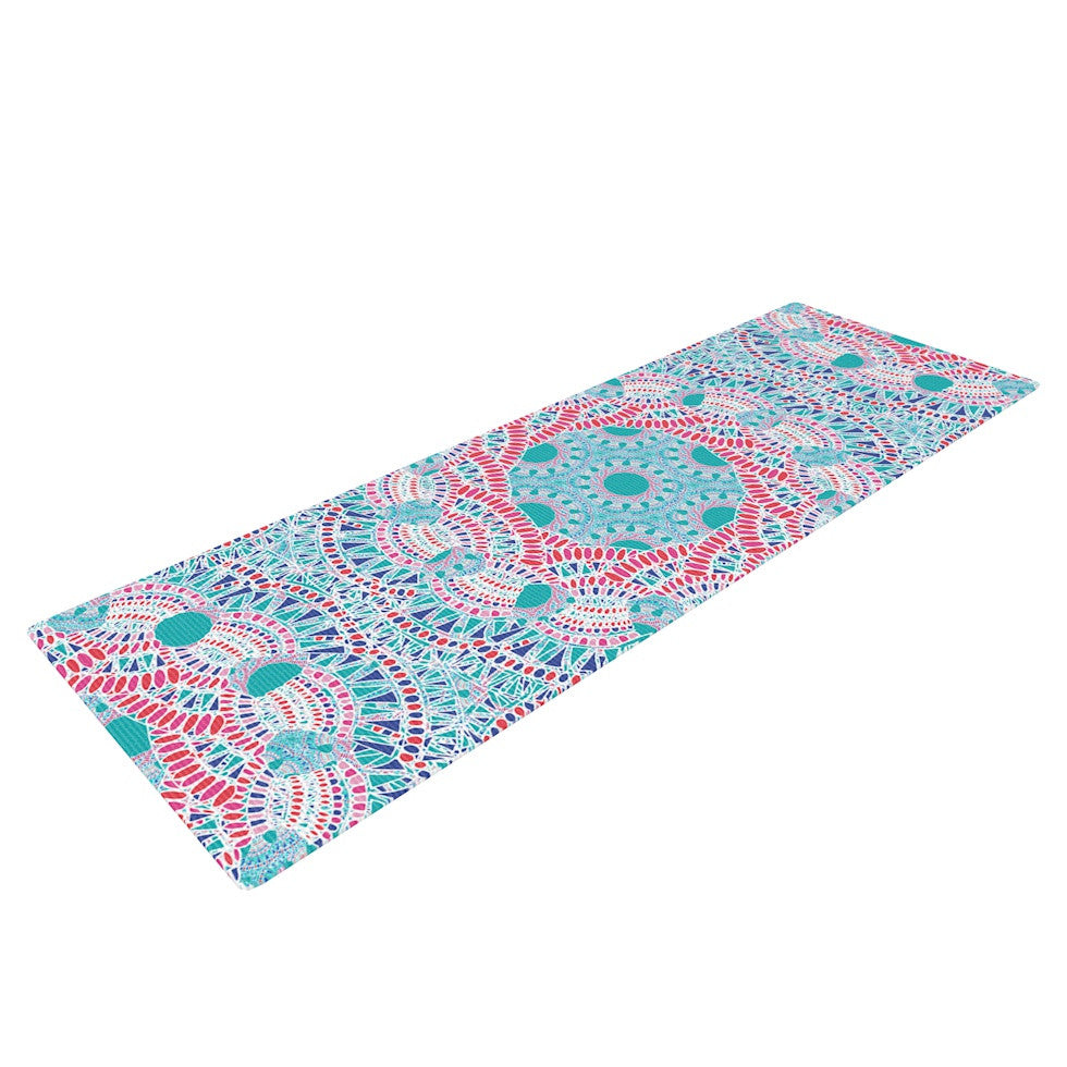 "Miranda Mol ""Prismatic White"" Blue Pink Abstract Yoga Mat - KESS InHouse  - 1"