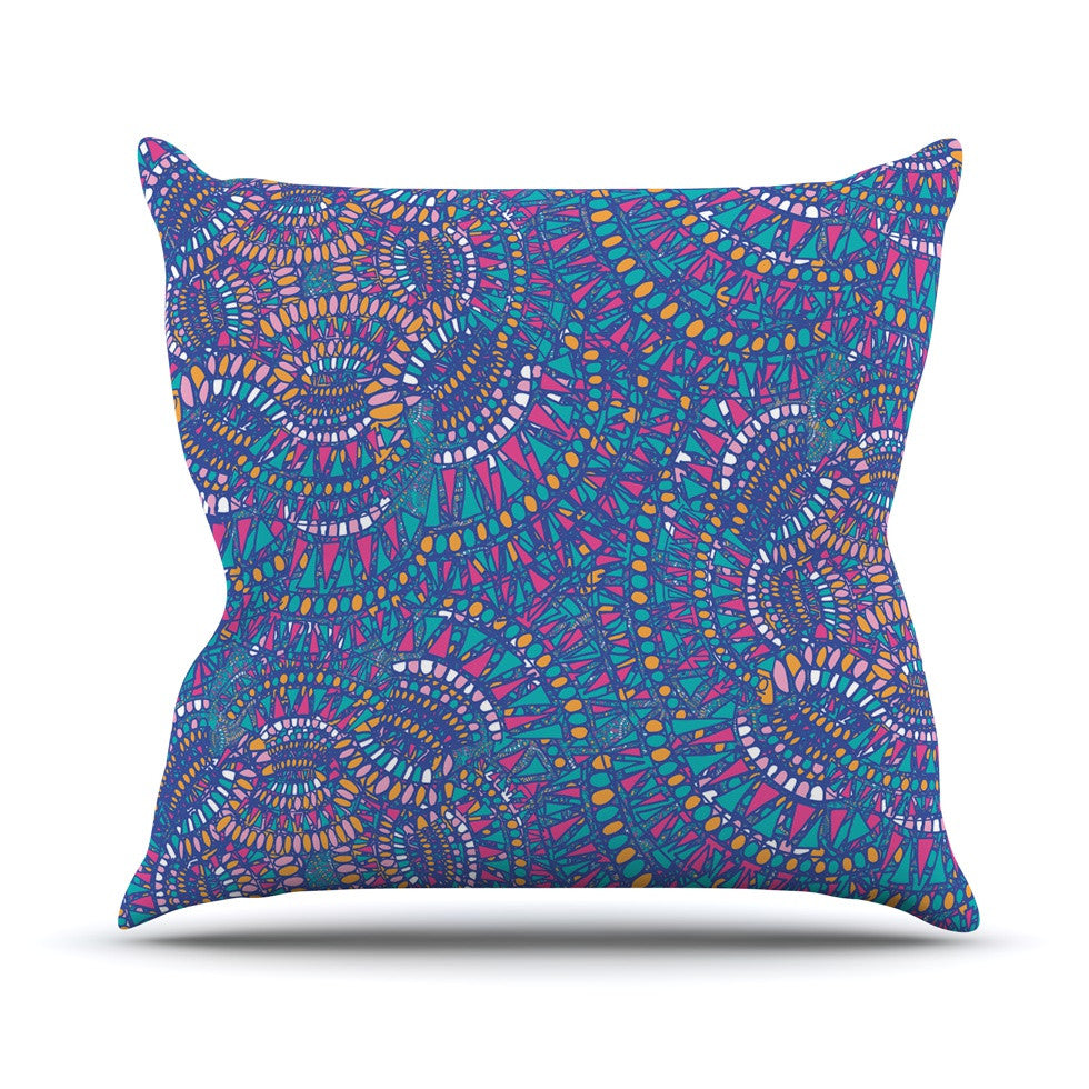 "Miranda Mol ""Kaleidoscopic Blue"" Blue Geometric Throw Pillow - KESS InHouse  - 1"