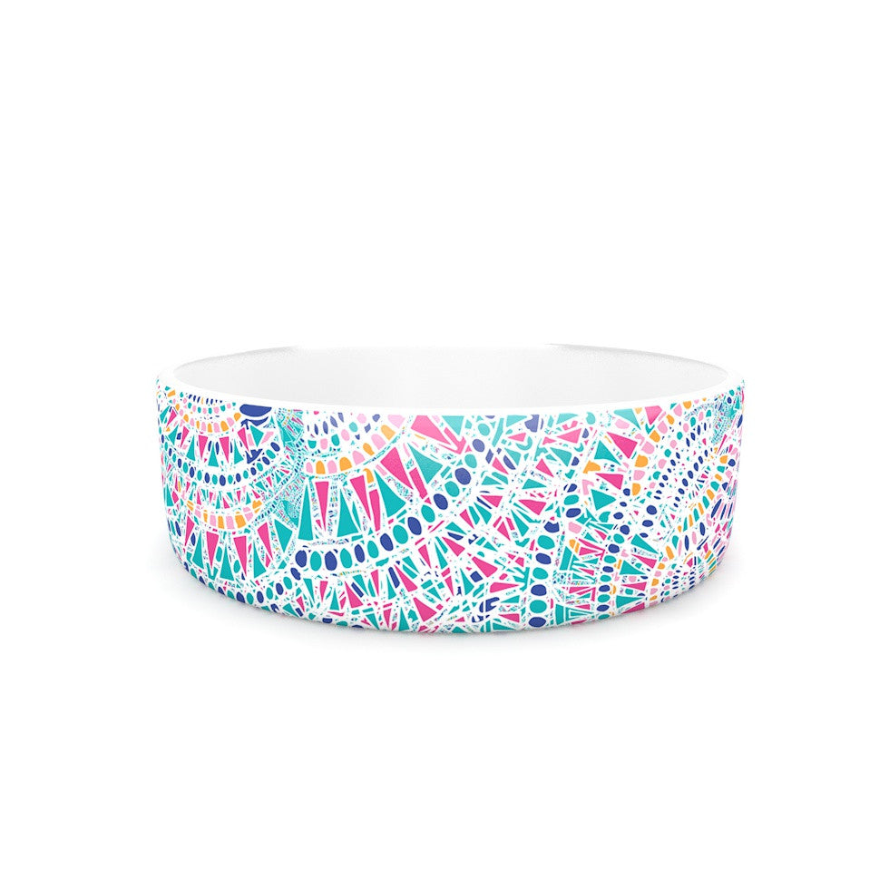 "Miranda Mol ""Kaleidoscopic White"" Aqua Abstract Pet Bowl - KESS InHouse"
