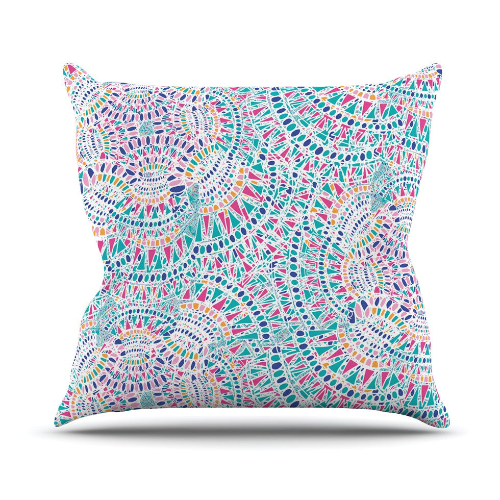 "Miranda Mol ""Kaleidoscopic White"" Aqua Abstract Throw Pillow - KESS InHouse  - 1"