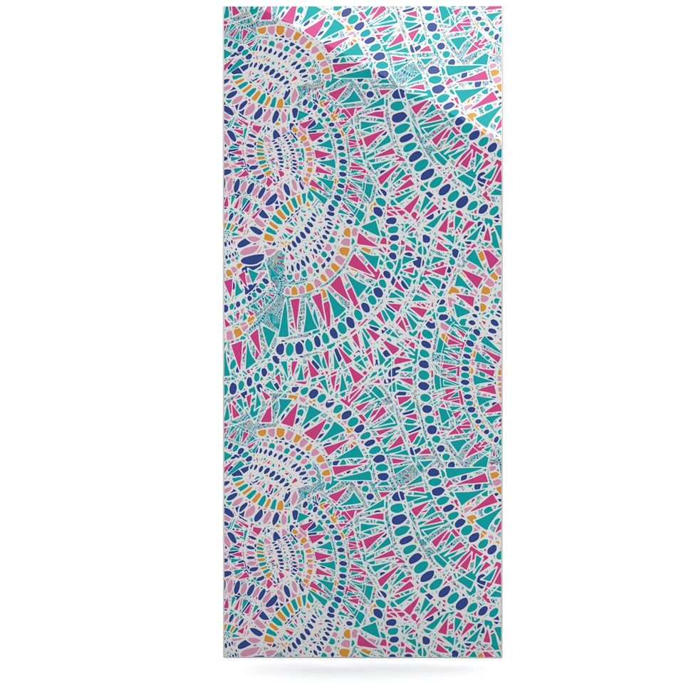 "Miranda Mol ""Kaleidoscopic White"" Aqua Abstract Luxe Rectangle Panel - KESS InHouse  - 1"