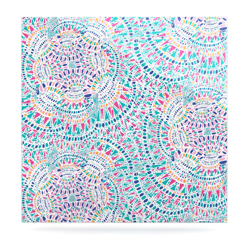 "Miranda Mol ""Kaleidoscopic White"" Aqua Abstract Luxe Square Panel - KESS InHouse  - 1"