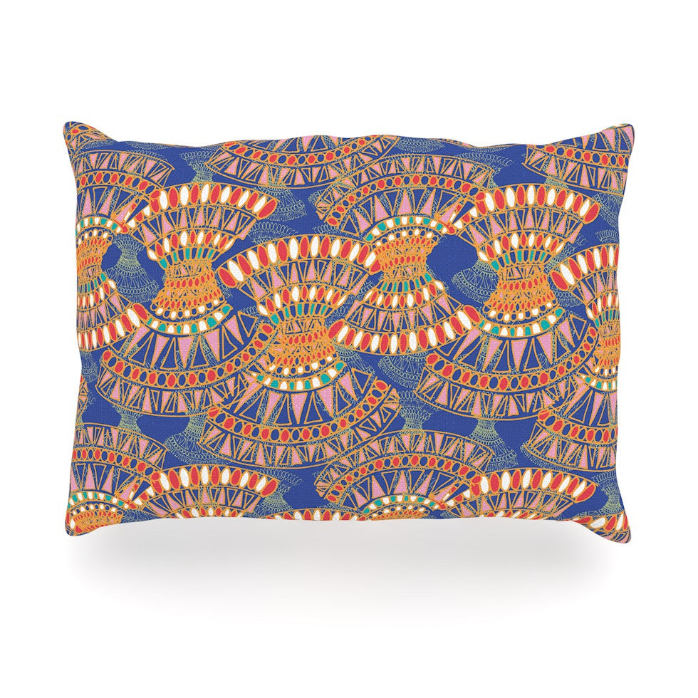 "Miranda Mol ""Energy"" Orange Blue Abstract Oblong Pillow - KESS InHouse"