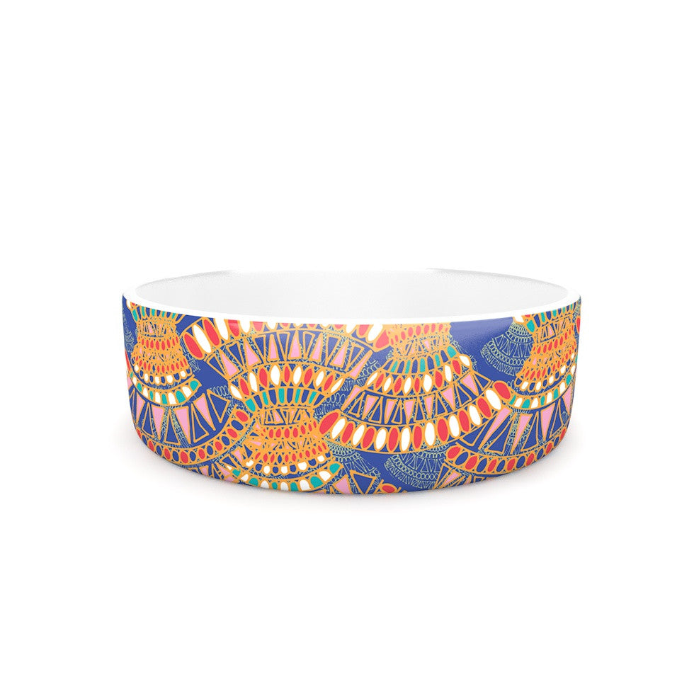"Miranda Mol ""Energy"" Orange Blue Abstract Pet Bowl - KESS InHouse"