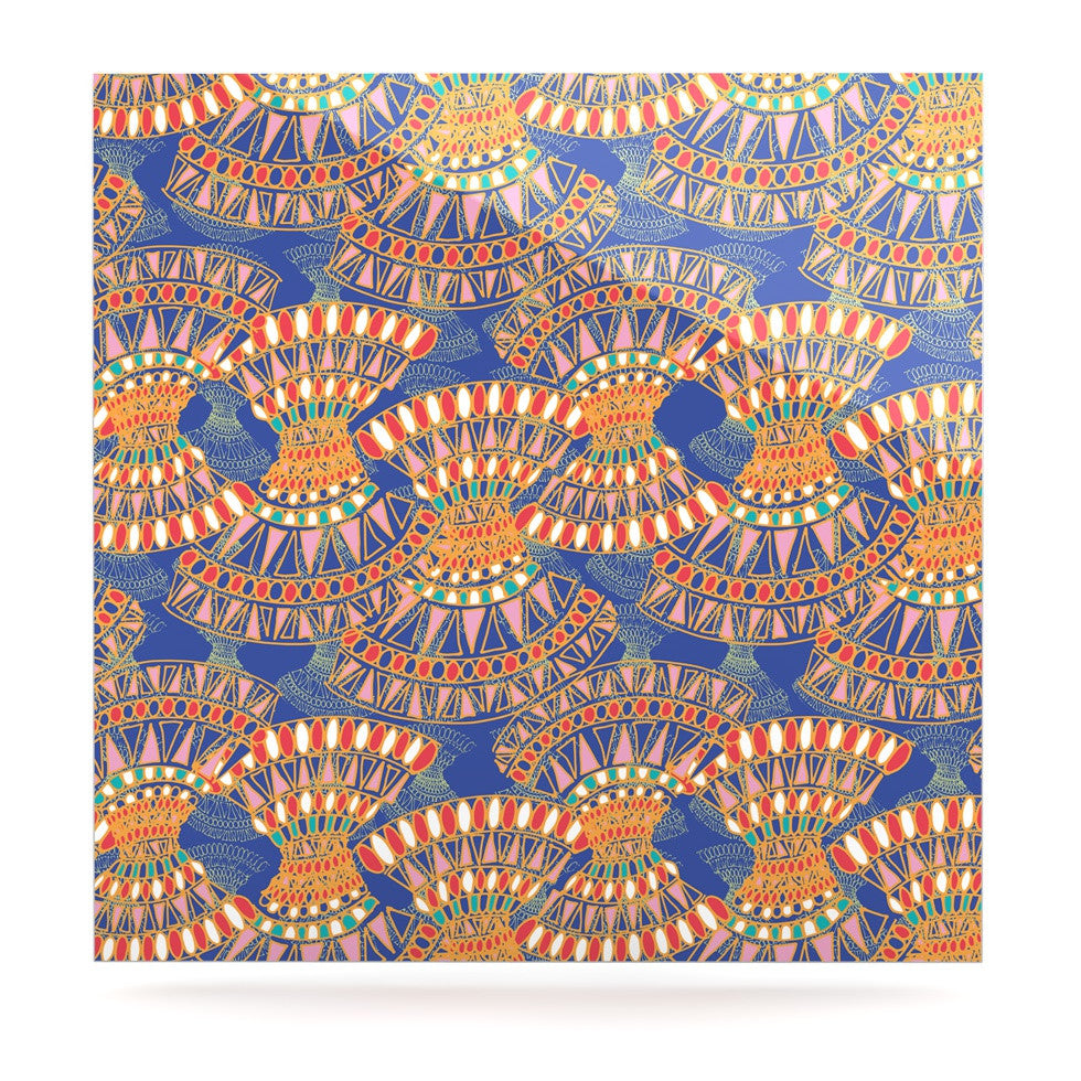 "Miranda Mol ""Energy"" Orange Blue Abstract Luxe Square Panel - KESS InHouse  - 1"