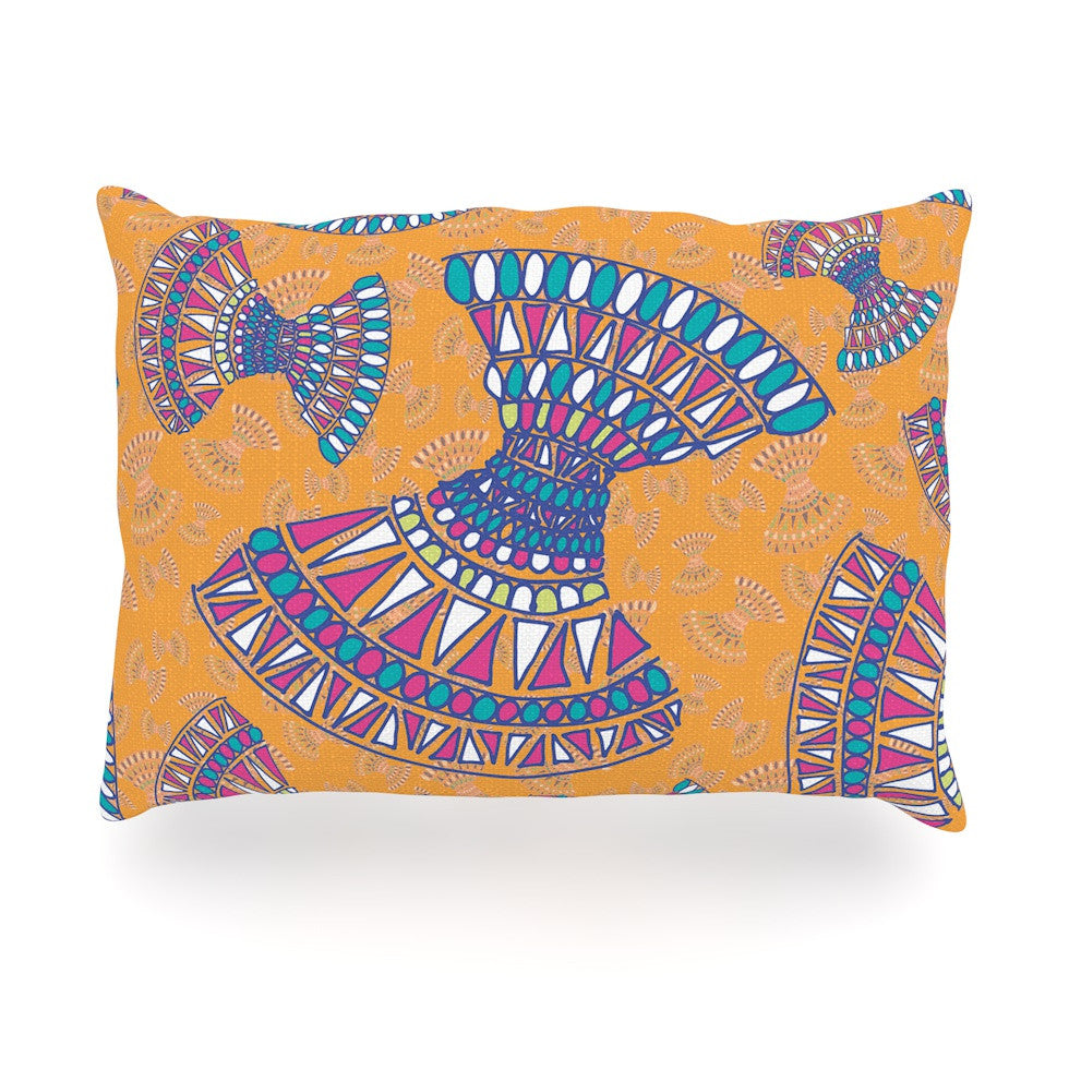 "Miranda Mol ""Tribal Fun Orange"" Abstract Tangerine Oblong Pillow - KESS InHouse"