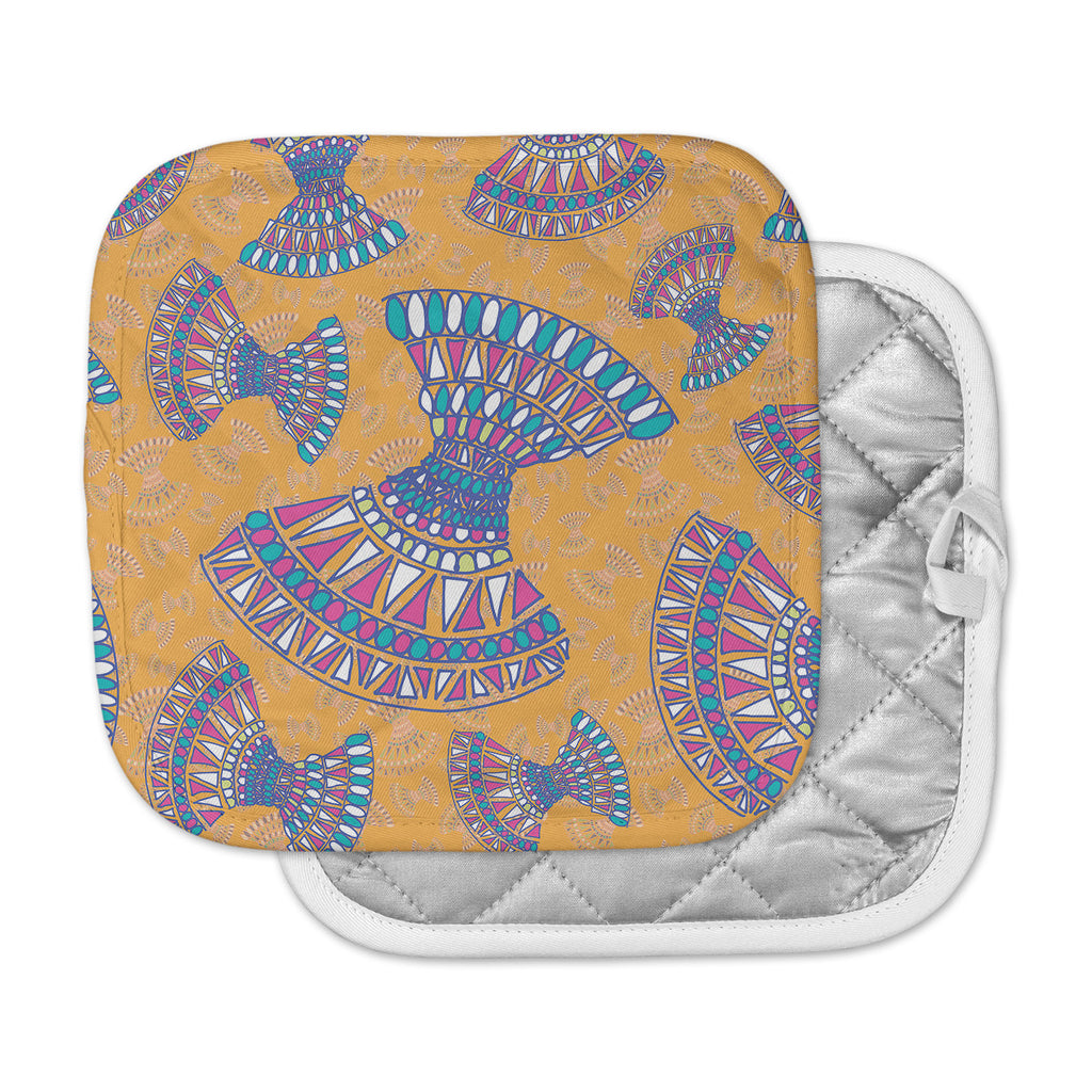 "Miranda Mol ""Tribal Fun Orange"" Abstract Tangerine Pot Holder"