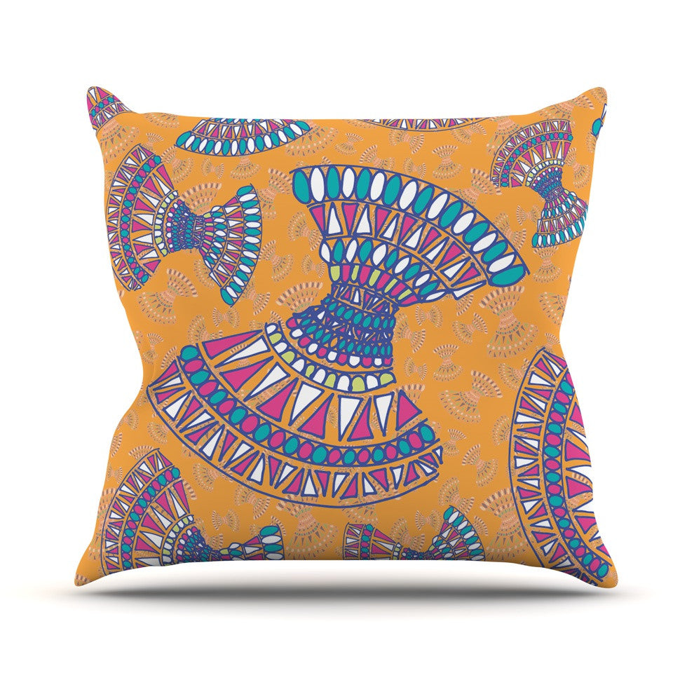 "Miranda Mol ""Tribal Fun Orange"" Abstract Tangerine Throw Pillow - KESS InHouse  - 1"