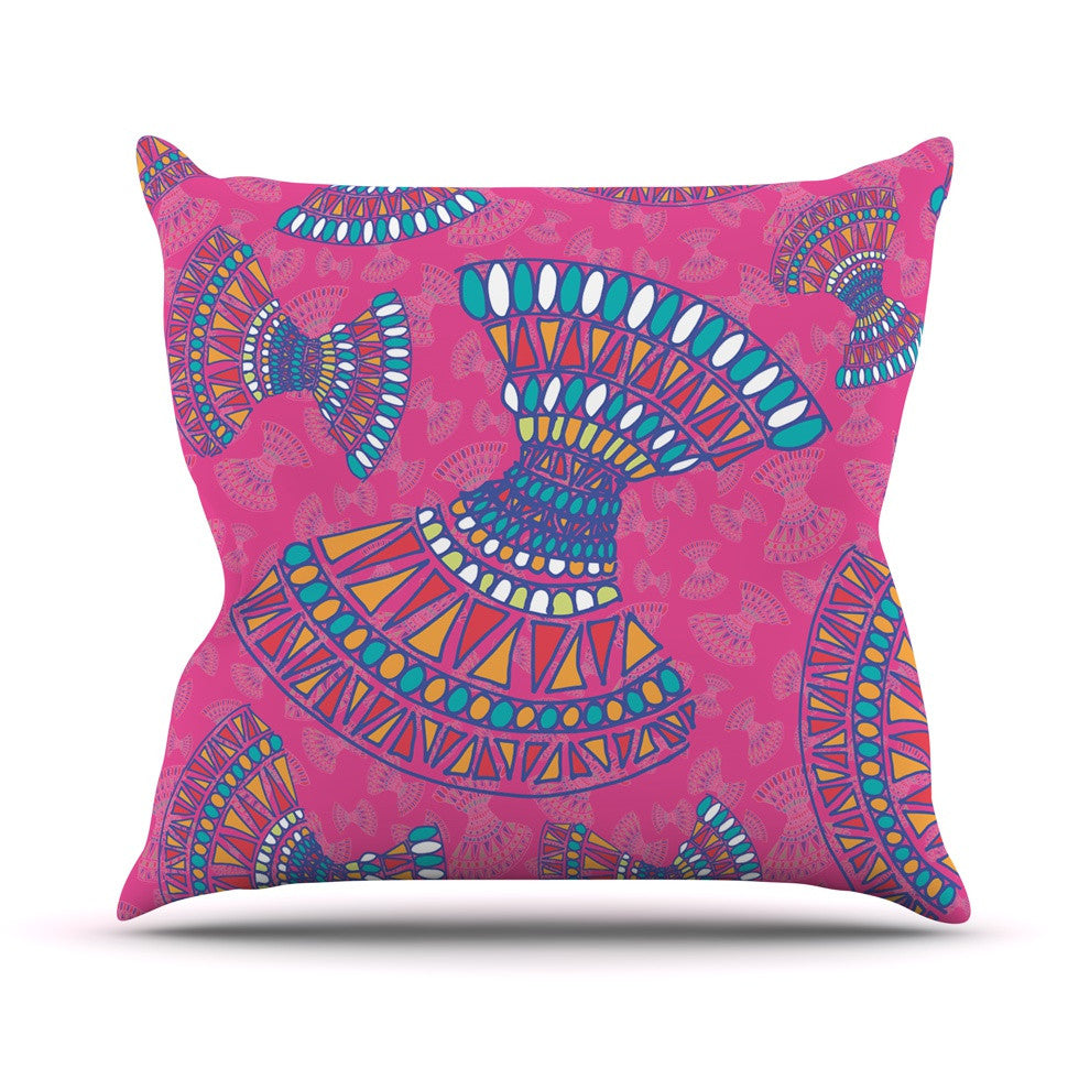 "Miranda Mol ""Tribal Fun Pink"" Magenta Abstract Outdoor Throw Pillow - KESS InHouse  - 1"