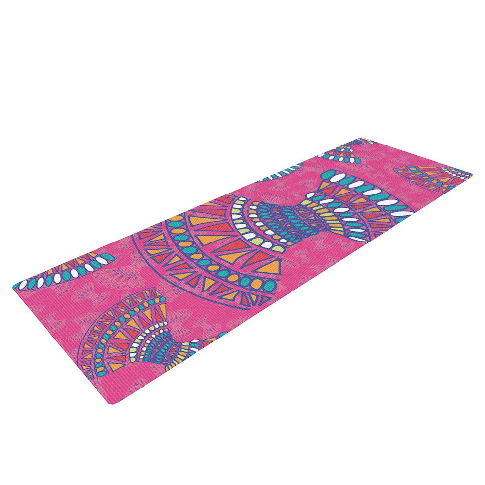 "Miranda Mol ""Tribal Fun Pink"" Magenta Abstract Yoga Mat - KESS InHouse  - 1"
