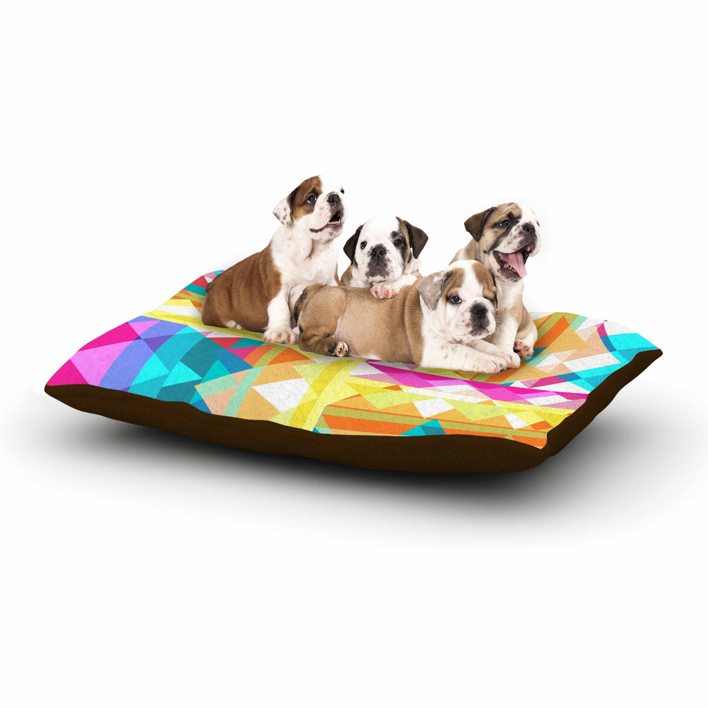"Miranda Mol ""Triangle Checker"" Pastel Rainbow Dog Bed - KESS InHouse  - 1"
