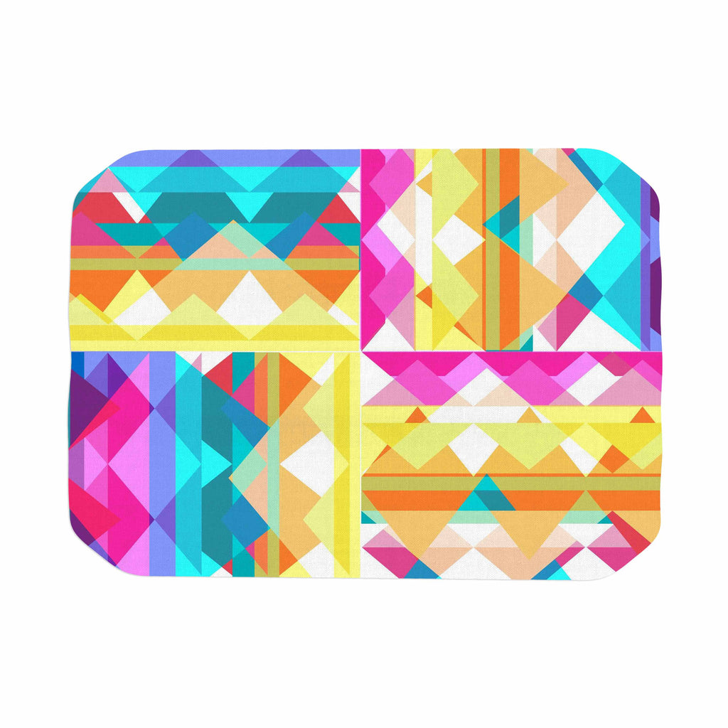 "Miranda Mol ""Triangle Checker"" Pastel Rainbow Place Mat - KESS InHouse"
