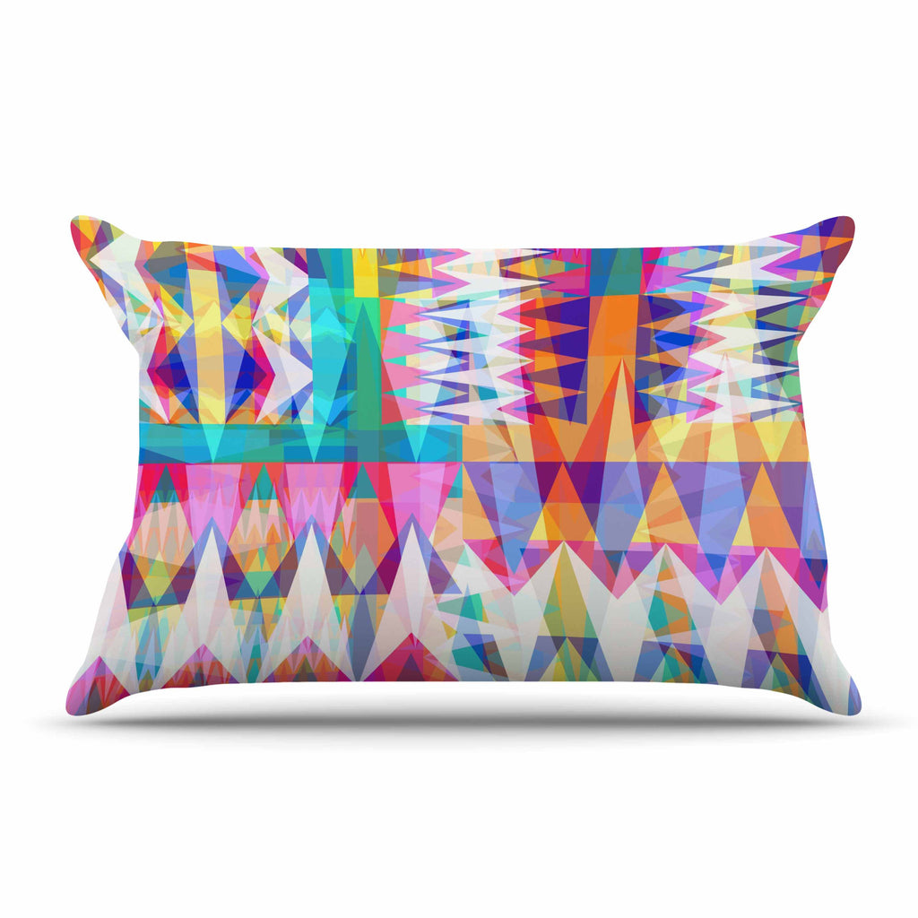"Miranda Mol ""Triangle Collage"" Pastel Geometric Pillow Sham - KESS InHouse"