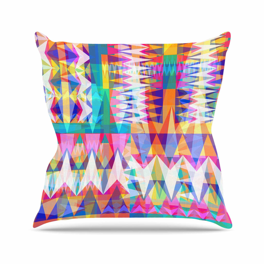 "Miranda Mol ""Triangle Collage"" Pastel Geometric Outdoor Throw Pillow - KESS InHouse  - 1"