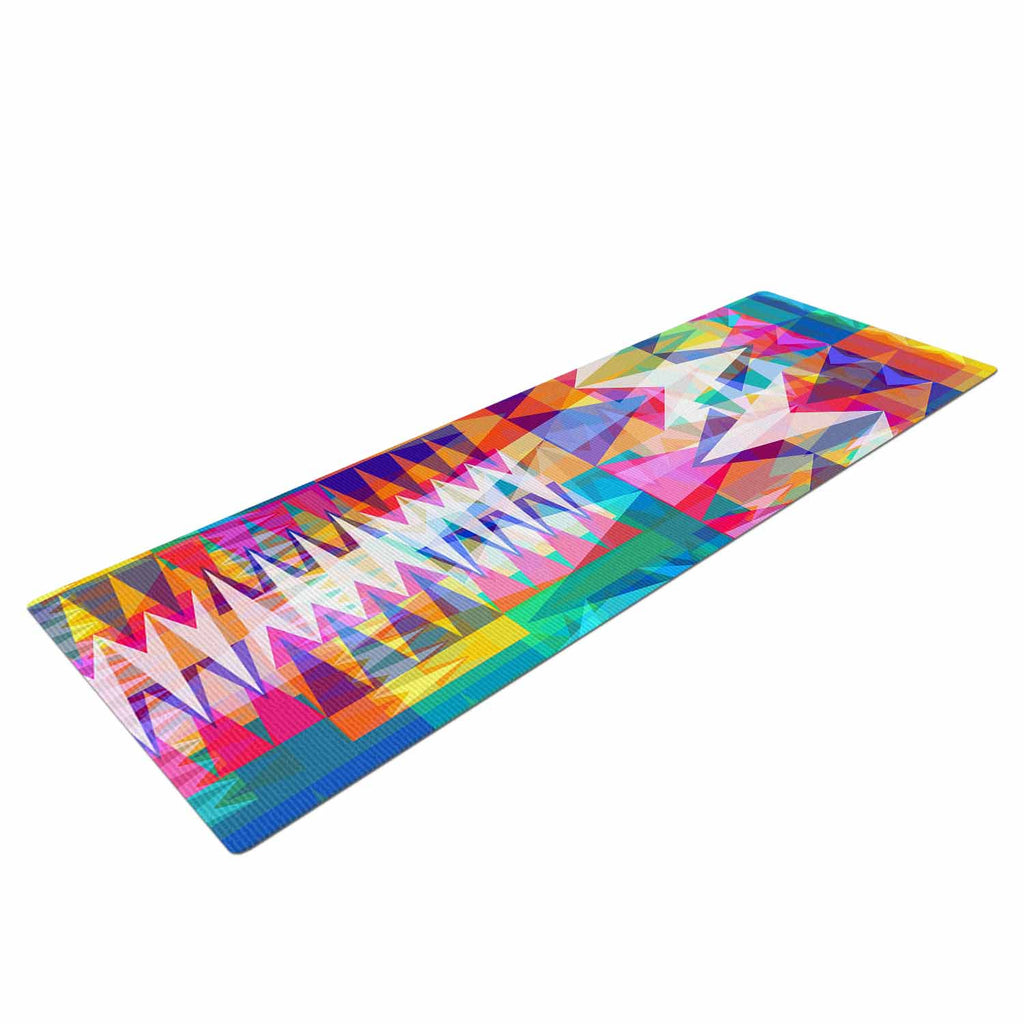 "Miranda Mol ""Triangle Collage"" Pastel Geometric Yoga Mat - KESS InHouse  - 1"