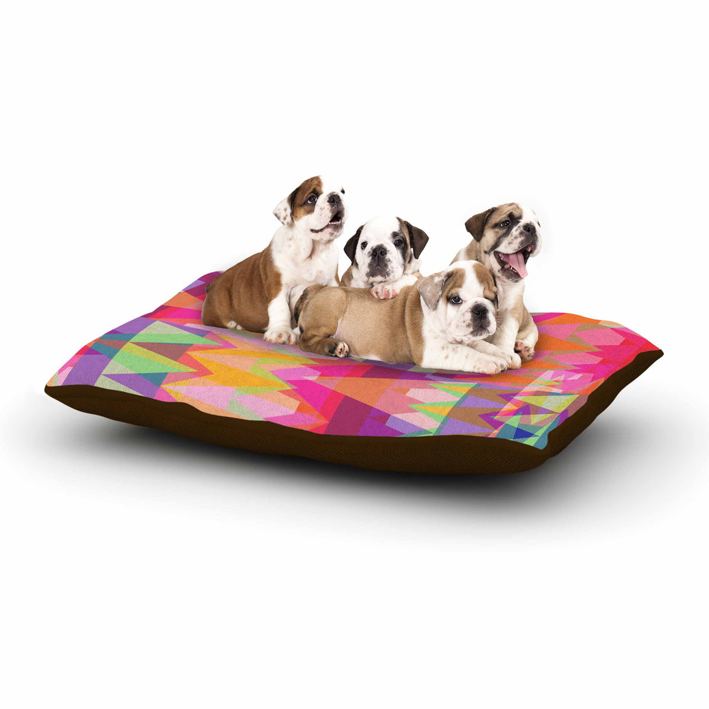 "Miranda Mol ""Triangle Fun"" Pink Multicolor Dog Bed - KESS InHouse  - 1"