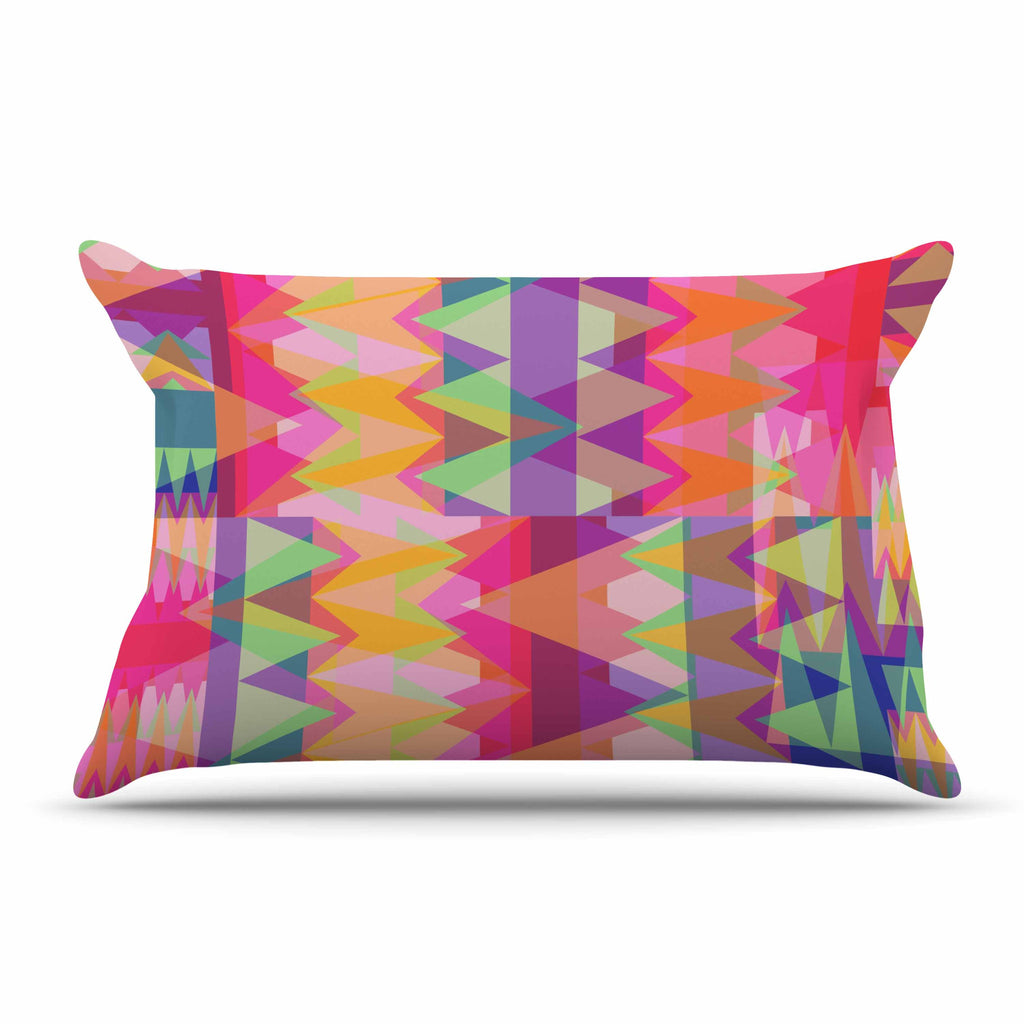 "Miranda Mol ""Triangle Fun"" Pink Multicolor Pillow Sham - KESS InHouse"