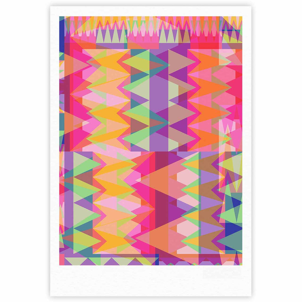 "Miranda Mol ""Triangle Fun"" Pink Multicolor Fine Art Gallery Print - KESS InHouse"