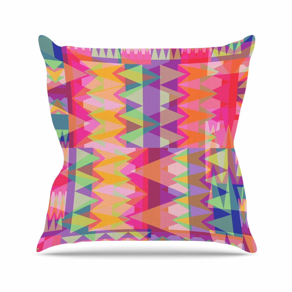 "Miranda Mol ""Triangle Fun"" Pink Multicolor Throw Pillow - KESS InHouse  - 1"