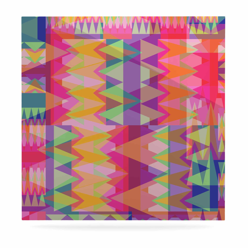 "Miranda Mol ""Triangle Fun"" Pink Multicolor Luxe Square Panel - KESS InHouse  - 1"