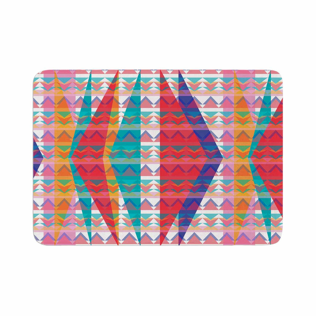 "Miranda Mol ""Triangle Illusion"" Multicolor Geometric Memory Foam Bath Mat - KESS InHouse"