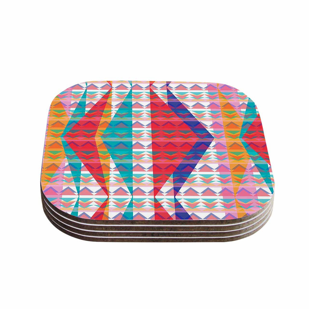 "Miranda Mol ""Triangle Illusion"" Multicolor Geometric Coasters (Set of 4)"