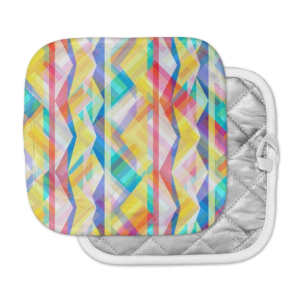 "Miranda Mol ""Triangle Rhythm"" Pastel Geometric Pot Holder"