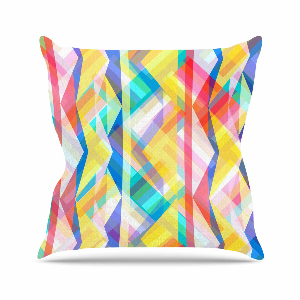 "Miranda Mol ""Triangle Rhythm"" Pastel Geometric Outdoor Throw Pillow - KESS InHouse  - 1"