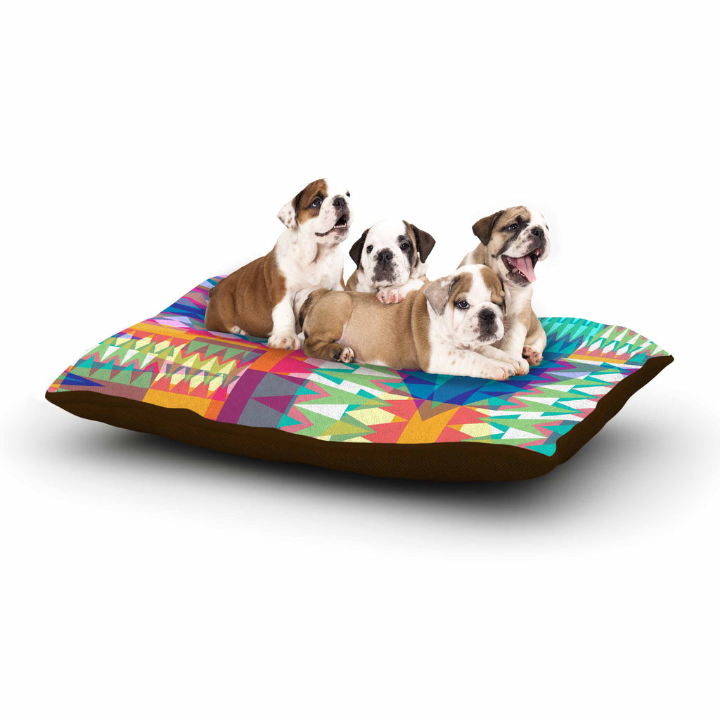 "Miranda Mol ""Triangle Quilt"" Multicolor Geometric Dog Bed - KESS InHouse  - 1"