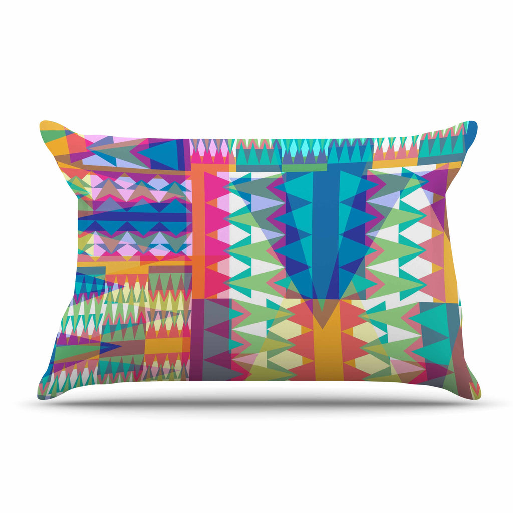 "Miranda Mol ""Triangle Quilt"" Multicolor Geometric Pillow Sham - KESS InHouse"