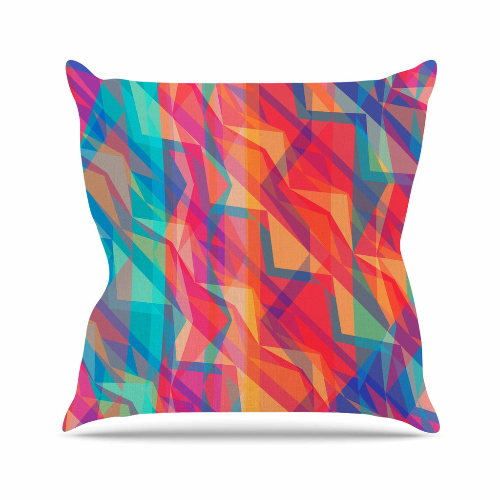 "Miranda Mol ""Triangle Opticals"" Pink Multicolor Throw Pillow - KESS InHouse  - 1"