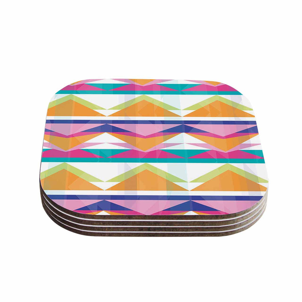 "Miranda Mol ""Triangle Waves"" Geometric Pattern Coasters (Set of 4)"