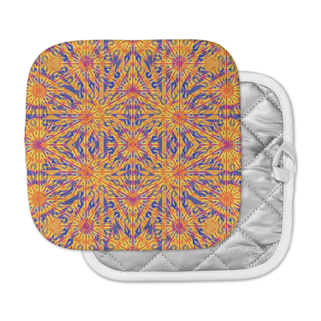 "Miranda Mol ""Azulejo Orange "" Orange Blue Pot Holder"