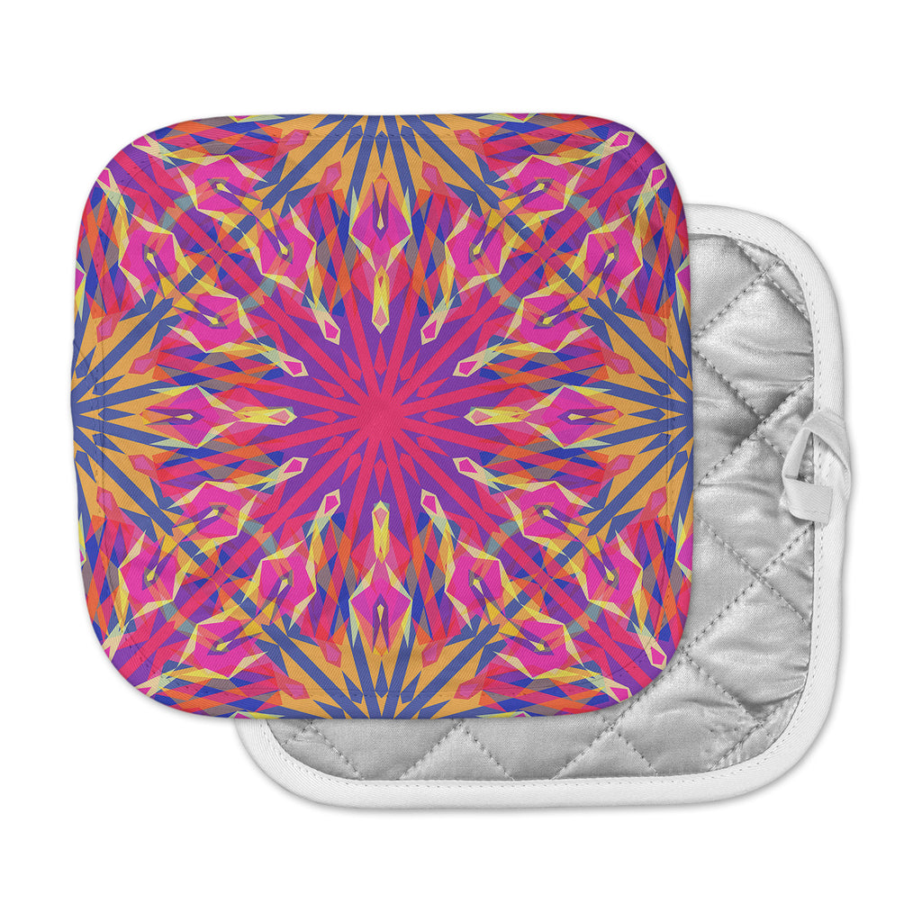 "Miranda Mol ""Whirling"" Orange Indigo Pot Holder"