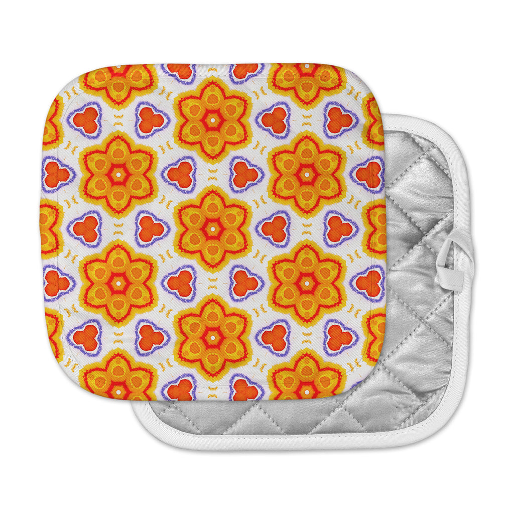 "Miranda Mol ""Kaleidoscopic Flowers"" Orange Red Floral Pot Holder"