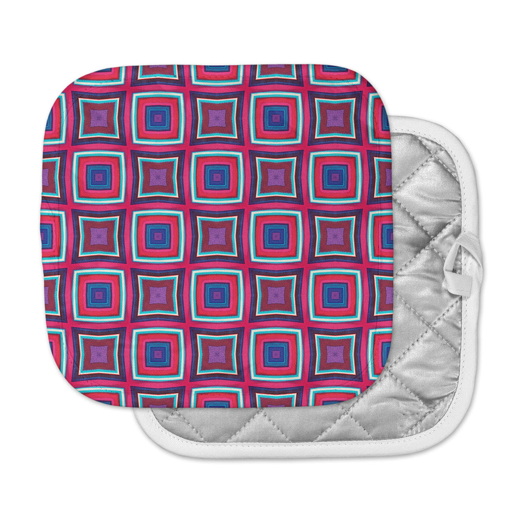 "Miranda Mol ""Watercolor Blocks"" Pink Black Checker Pot Holder"