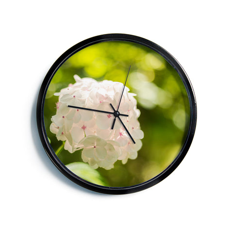 "MaryJo ""Blury Flower"" Green Yellow Floral Nature Digital Photography Modern Wall Clock"