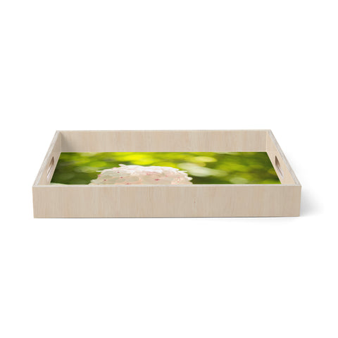 "MaryJo ""Blury Flower"" Green Yellow Floral Nature Digital Photography Birchwood Tray"