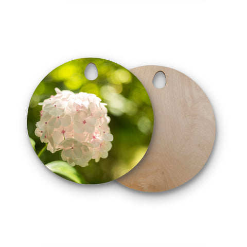 "MaryJo ""Blury Flower"" Green Yellow Floral Nature Digital Photography Round Wooden Cutting Board"
