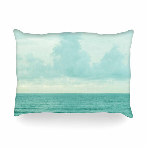 "MaryJo ""Grennish Soul"" Blue Gray Nature Travel Digital Photography Oblong Pillow"