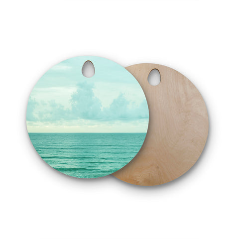 "MaryJo ""Grennish Soul"" Blue Gray Nature Travel Digital Photography Round Wooden Cutting Board"