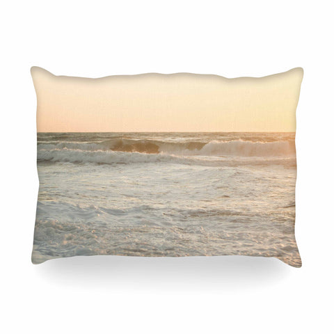 "MaryJo ""White Waves"" White Beige Holiday Nature Digital Photography Oblong Pillow"